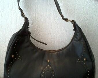1990 vintage black leather shoulder bag