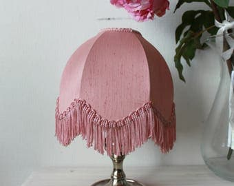 Pink vintage lampshade, with a frill