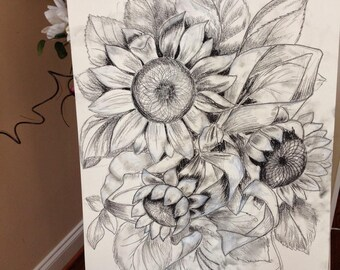 """Sunflowers Wood Carving Pattern (Full size) 24""""-18"""""""