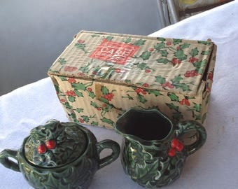 Vintage Lefton Holly Sugar and Creamer with orignal box