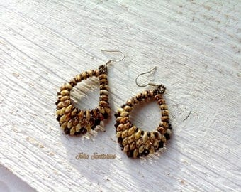 Beige Picasso and Brown beaded earrings