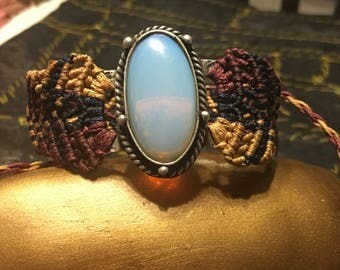 Opalite Macrame Bracelet or Upper Arm Adornment ~