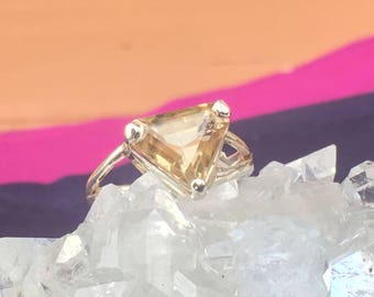 Natural Citrine Triangle Faceted 92.5 Silver Setting Ring US Size 7 1/4  (12mm x 11mm)