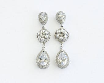 Bridal Earrings, Wedding Earrings, Drop earrings, earrings, Pearl earrings, Rhinestone Earrings - Elora
