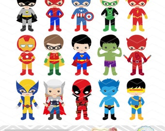 30 Superhero Boys Digital Clipart, Superhero Clip Art, Boy Superhero Clip Art, Little Boy Super Hero Clipart, Super Hero Clip Art, 0265