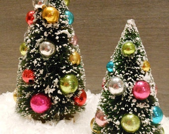 christmas village accessories 2 bottle brush trees snow and 4 tea lights - Christmas Tree Accessories