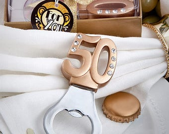 50th Design Bottle Opener - Anniversary Birthday Party Favor 20-72 Qty  FC4892