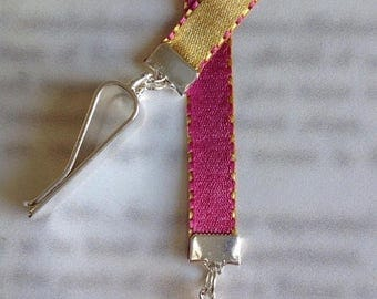 ON SALE Pink Crystal Heart bookmark / Beautiful bookmark - Attach clip to book cover then mark the page with the ribbon. Never lose your boo