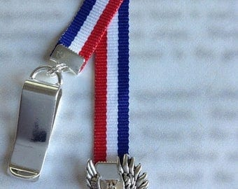 ON SALE Eagle Bookmark / Military Bookmark / America Bookmark - Attach clip to cover then mark page with the ribbon. Never lose your cute bo