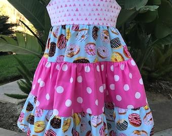 Donut Theme Party Ruffled Twirl Dress. Custom Birthday Dress. Little Girl Birthday Dress. Ruffled Dress. Twirl Dress.