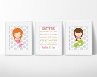 Little Girls Room Decor - Mermaid Bedroom Decor - Sisters Wall Art - Mermaid Sister - Mermaid Decor - Girls Room Decor - Sisters Nursery