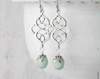 Amazonite Celtic Earrings, Pale Mint & Silver Earrings, Pagan Gemstone Earings, Celtic Knot Earrings, Green Gemstone Jewellery, Handmade UK