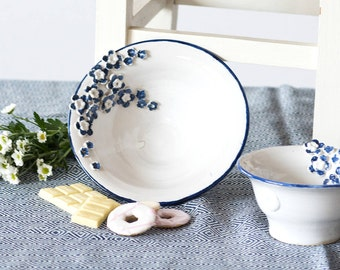 Blue and White Flower Stoneware Bowls (Set of 2)