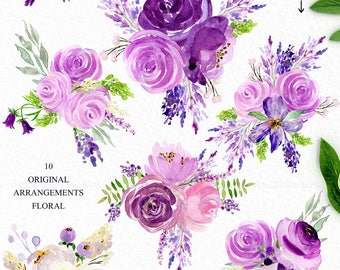 Ultra violet watercolour flowers clipart, hand drawn: Bouquets. Purple, lavander and cream. Peonies, roses, eggplant. Pantone colour of 2018