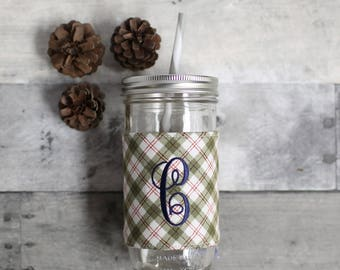 Personalized Forest Plaid Mason Jar Tumbler, Monogrammed Tumbler, Personalized Tumbler, Monogram Gifts for Her, Personalized Gifts for Her