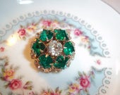 50s Jewelry: Earrings, Necklace, Brooch, Bracelet Vintage Prong Set Emerald  Clear Faceted Rhinestones Brooch 1950s Beautiful Costume Jewelry Hollywood Glamorous Bling Bling Collectible $18.00 AT vintagedancer.com