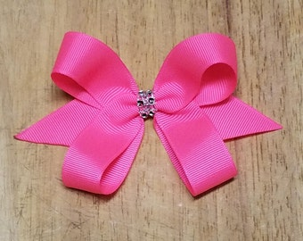 Small Neon Pink Hair Bows