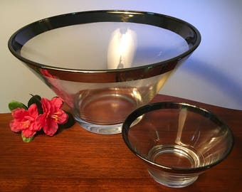 Stunning silver band glass bowl chip and dip set