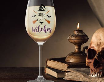 Drink Up Witches Drinking Glass, Punny Wine Beer Glass, October Decoration,  Halloween Party Favor, Beer Wine Liquor Soda Milk Cup Mug