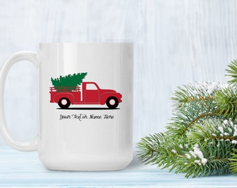 Christmas Truck Mug, Red Pickup Truck with Christmas Tree, Personalize With Names, Holiday Gift for Him or Her, Christmas Coffee Tea Cup