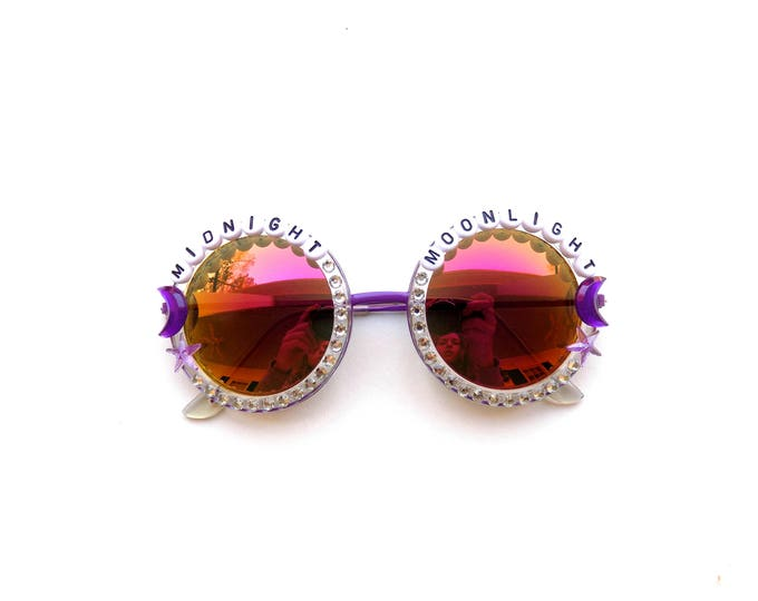 """Jerry Garcia Band """"Midnight Moonlight"""" decorated sunnies, groovy festival shades with jam band lyrics, Dead and Company accessory"""
