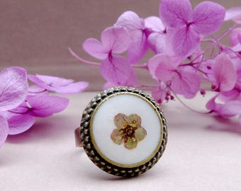 Bohemian ring, real flower ring, gift for woman, terrarium jewelry, resin flower ring, inspirational, mothers day gift, botanical jewelry