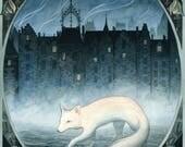 BOUNDARY WALKER ~ Fine art print. ~ Fox, Edinburgh, Mist, charity, wildlife
