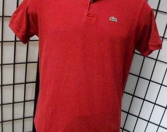 Lacoste alligator preppy adult red cotton polo shirt