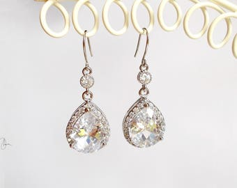 Silver Crystal Earrings - Wedding Bridal Earrings - Maid of Honor Gift - Bridesmaids Jewellery - Clear Crystal Earrings Long Dangle Earrings