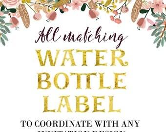 Digital Water Bottle Label - Matching Water Bottle Label  - Printable - Digital File
