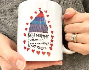 Your Child's Drawing on a Mug, Mothers Day Gift, Grandparent Gift, Child's Artwork Mug, Children's Drawing, Mothers Day, Gift for Mum