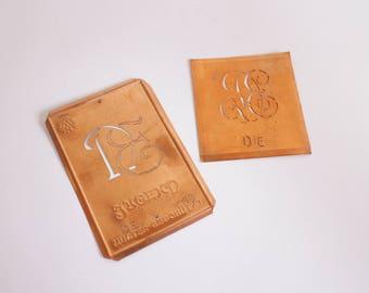 DE Rare Authentic Copper Stencil Vintage Monogram DE  - Set of 2