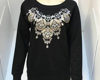 SPARKLY hand embellished SWEATSHIRT. Black women's organic cotton, sweatshirt, with a glittery silver and vintage gold fabric design.