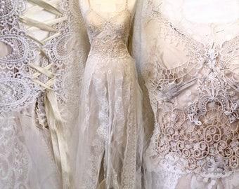 RESERVED !!!!!!!!!Boho lace wedding dress , unique Bridal gown,corset wedding dress,handmade wedding dress,fantasy fairytale dress,bridal go