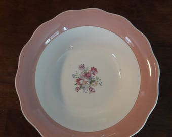 "Vintage 1920's - 30's French Saxon China 22 K.T. Gold 9"" Vegetable Bowl in Dusty Rose Pattern"