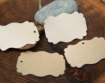 16 Mink Pearlised Rectangle fancy Labels, Luxury Gift Tags, Blank Tags, Wishing Tree Tags, Wedding Place Card, Jam Label, Jewellery Tags