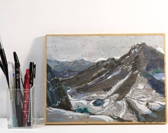 NEW!! incredible Snowed mountains landscape. Original painting by Juanma Pérez. oil on plywood.