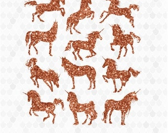 Unicorn Clipart, Unicorn Graphics, Glitter Unicorns, Unicorn Silhouettes, Unicorn Elements, Decal for Shops, Commercial Use, Copper Unicorns