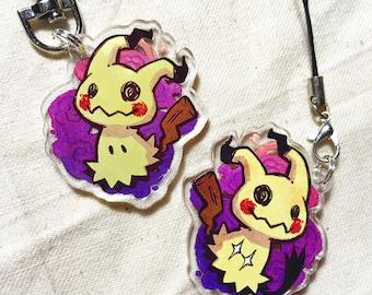 "Mimikyu - Pokemon 1.5"" Acrylic Charm - Keychain or Cell Phone Strap"
