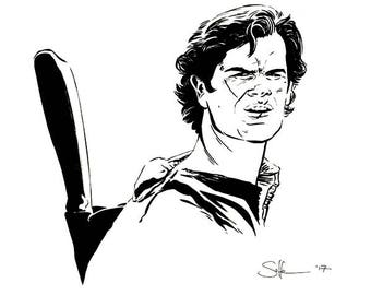 "EVIL DEAD - Ash (Bruce Campbell) Sam Raimi portrait original ink s11""tch"