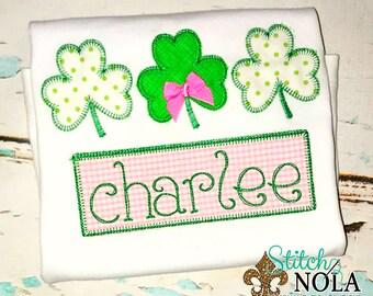 St Patrick's Day Shamrock Trio Applique, Clover Applique, Shamrock Applique, Boy St Patrick's, Girl St. Patrick's, Lucky Applique