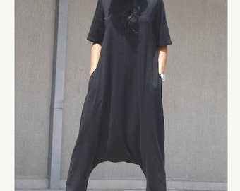 Drop crotch jumpsuit, harem jumpsuit, loose jumpsuit, draping jumpsuit, maxi jumpsuit, party jumpsuit, black jumpsuit, overalls