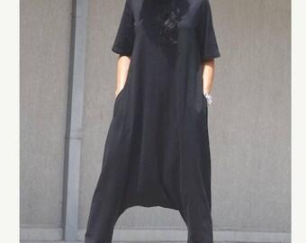 Jumpsuit for plus size women, black romper, oversized hijab, maxi clothing, floor length jumpsuit, mid sleeves black romper, large size