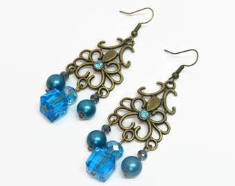 Turquoise Boho Chandelier Earrings, Aqua Filigree Chandelier Earrings, Boho Pearl Earrings, Aqua Prom Earrings, Aqua Bridesmaid Earrings