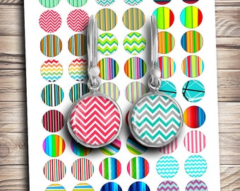 Chevron and Lines Printable mirror Images 1 inch 25mm 20mm 18mm  for making earrings cufflinks pendants Digital Collage Sheet