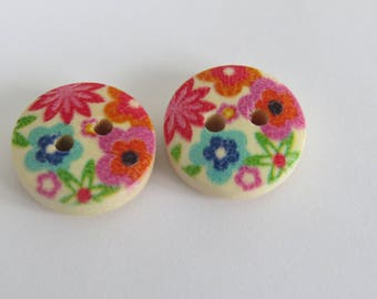 Pink and orange flower patterned wooden button