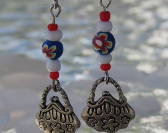 Earrings silver purse and fimo floral by JosieCoccinelle