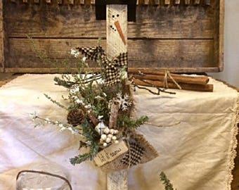 """Primitive Winter Snowman Unique Handcrafted Antique Wood Lath Gatherings """"Let It Snow"""" Series Winter Home decor Design"""