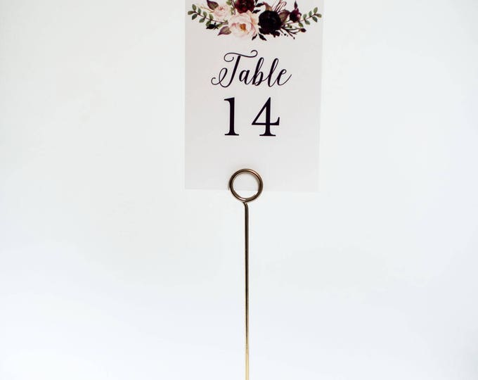 NEW!  isabella table numbers  //  burgundy watercolor floral romantic calligraphy wedding table numbers