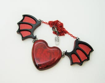 Winged Shimmering Red and Black Heart Choker Necklace